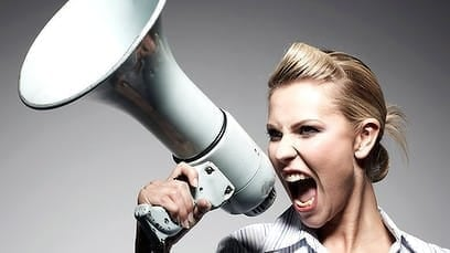 Photo of a woman on a megaphone