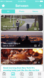 The Moments feature lets couples scroll through all the photos they've taken.