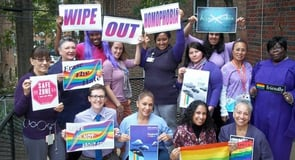 Photo of AAP group rallying for LGBTQ equality