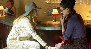Photo of lesbian couple flirting