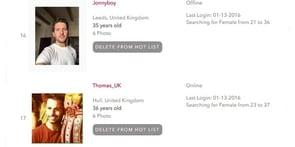 Screenshot of DateBritishGuys.com Hot List