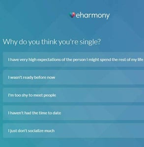 Screenshot of eharmony's quiz