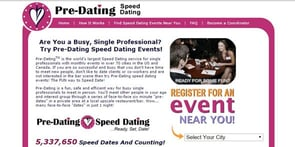 Screenshot of Pre-Dating.com homepage