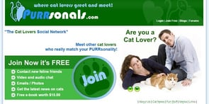 Screenshot of Purrsonals.com homepage