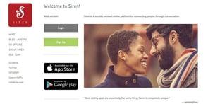 Screenshot of Siren homepage