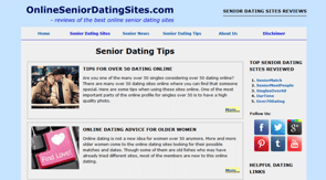 A screenshot of the Online Senior Dating Sites tips page
