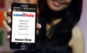 An image of the candiDate Dating App login screen