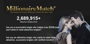 Screenshot of MillionaireMatch.com homepage