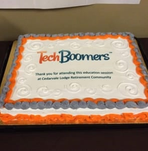 Photo of a TechBoomers celebratory cake