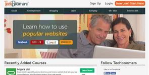 Screenshot of the TechBoomers homepage