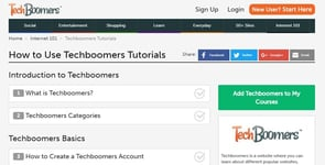 Screenshot of the how-to page on TechBoomers