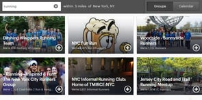 Screenshot of the Meetup.com search results