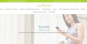 Screenshot of Growing Self's Life Coaching page