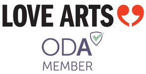 Photo of the Love Arts and ODA logos