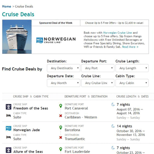 Screenshot of Cruise Critic's Deals page