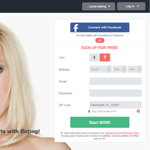 Screenshot of the sign-up for Flirt.com
