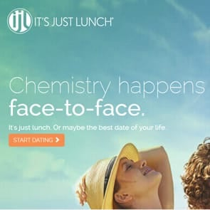 Screenshot of the It's Just Lunch homepage
