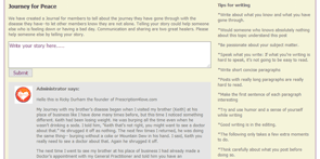 Screenshot of Prescription4Love's Journey for Peace journal