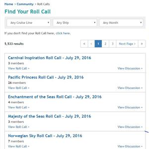 Screenshot of Cruise Critic's roll call