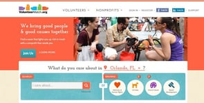 Screenshot of VolunteerMatch's homepage