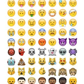 Graphic showing multiple emojis