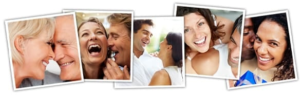 Photo collage of happy couples