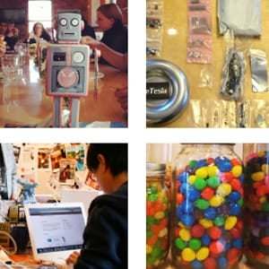 A photo or candy and people working at TinEye