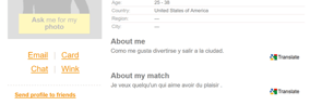 Screenshot of Translate Feature for ClownDating.com