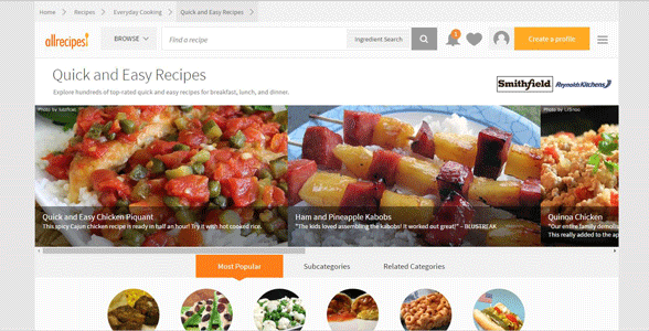 Screenshot of the Quick and Easy Recipes page