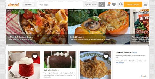 Screenshot of the Allrecipes homepage