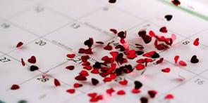 Photo of hearts on a calendar