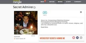 Screenshot of Christian Mingle's Secret Admirer feature