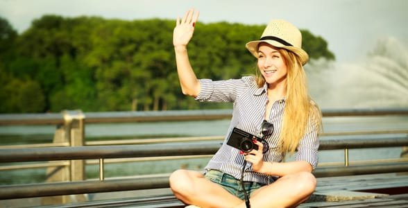 Picture of a girl waving