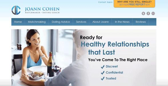 Screenshot of Joann Cohen's matchmaking homepage
