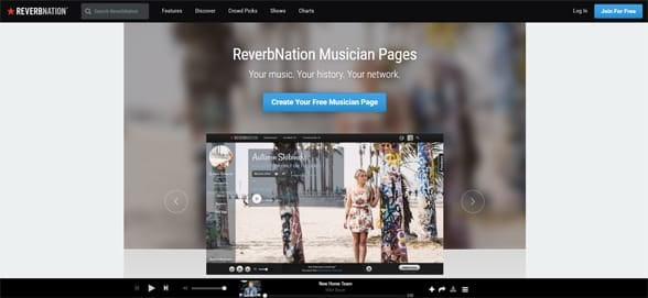 Screen shot of ReverbNation Musician Pages
