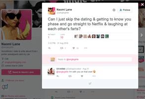 Screenshot of Naomi Lane's Twitter account