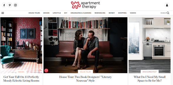 Screenshot of the Apartment Therapy homepage
