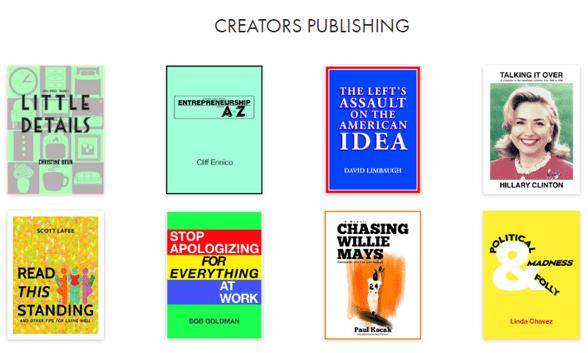 Screenshot of Creators publications