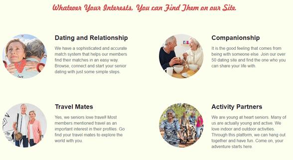 Screenshot of SeniorMatch interests page