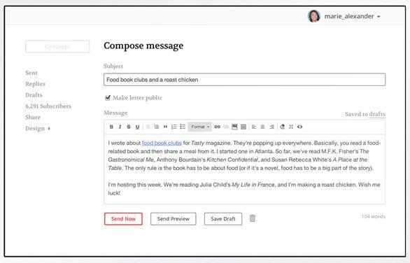 Screenshot of TinyLetter newsletter composition
