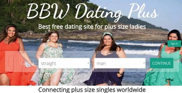 Screenshot of the BBW Dating Plus homepage