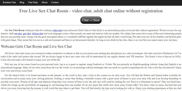 Screenshot of the Chat Zozo homepage