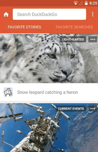 Screenshot of DuckDuckGo's mobile app