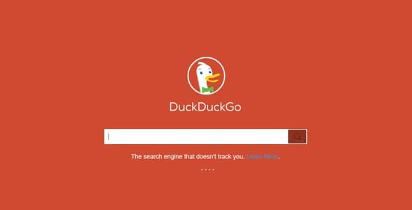 Screenshot of DuckDuckGo's search page