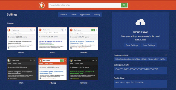 Screenshot of DuckDuckGo's customization page