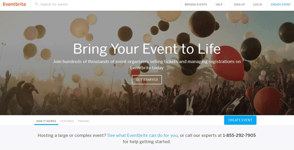 Screenshot of an Eventbrite homepage