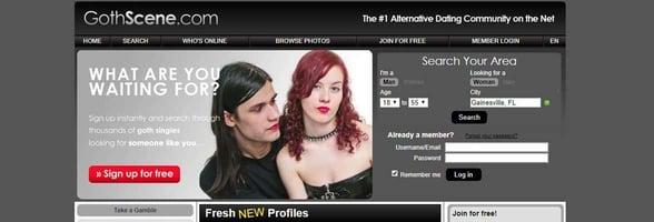 Screenshot of GothScene.com