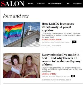 Screenshot of Salon's Love & Sex section