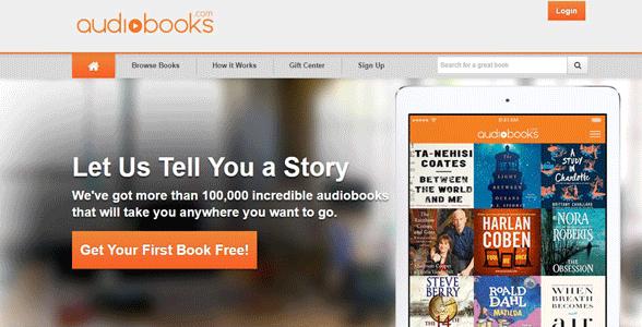 Screenshot of Audiobooks.com's homepage