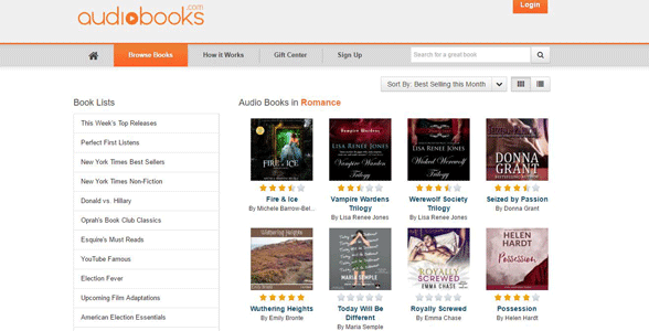 Screenshot of Audiobooks.com's romance page